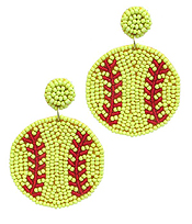 HANDMADE MULTI SEEDBEAD SOFTBALL EARRING