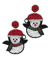HANDMADE MULTI SEEDBEAD SANTA PENGUIN  EARRING