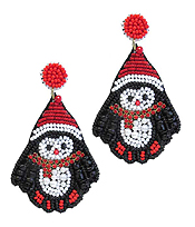 HANDMADE MULTI SEEDBEAD SANTA HAT AND PENGUIN EARRING