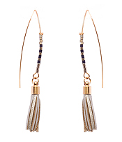 SEED BEAD AND LEATHER TASSEL FISH HOOK EARRING