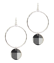 BUFFALO PLAID CHECK PATTERN DISC DROP HOOP EARRING