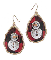 CHRISTMAS THEME BUFFALO PLAID PATTERN TEARDROP EARRING - SNOWMAN