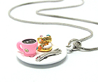 WHITEGOLD PLATING CRYSTAL STUD EPOXY TWO MINIATURE DONUT AND COFFE CUP PENDANT NECKLACE