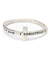 RELIGIOUS INSPIRATIONCROSS MESSAGE STRETCH BRACELET - 1 COR 13:4