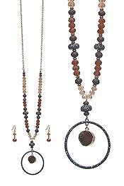 CRYSTAL RING AND DRUZY PENDANT AND MIXED FACET BEAD LONG NECKLACE SET