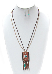 BOHO STYLE CHAIN AND SUEDE TASSEL NECKLACE SET