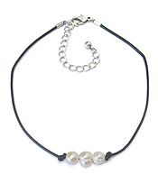 FRESHWATER PEARL CORD CHOKER NECKLACE