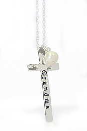 PEARL AND CROSS PENDANT NECKLACE - GRANDMA