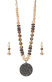 CRYSTAL PAVED DISC PENDANT AND MULTI BEAD MIX NECKLACE SET