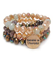 RELIGIOUS INSPIRATION MULTI FACET GLASS BEAD MIX TRIPLE STRETCH BRACELET SET - BELIEVE IN YOURSELF