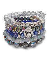 RELIGIOUS INSPIRATION MULTI FACET GLASS BEAD MIX 5 LAYER STRETCH BRACELET SET - FAITH