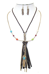 BOHEMIAN STYLE LONG FEATHER AND TASSEL DROP DOUBLE LAYER NECKLACE SET