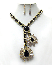 TWIST YARN AND METAL CHAIN WITH CRYSTALS FLOWER NECKLACE SET