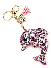 GLITTERING CUSHIONED DOLPHIN KEY CHAIN