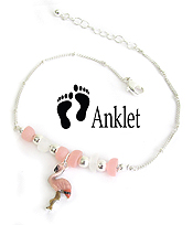 SEALIFE THEME MULTI SEAGLASS ANKLET - FLAMINGO