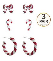 CHRISTMAS THEME 3 PAIR EARRING SET