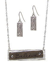 RELIGIOUS INSPIRATION WOOD AND METAL BOARD PENDANT NECKLACE SET - BELIEVE