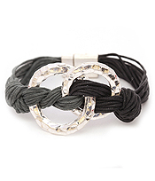 DOUBLE METAL HOOP LINK AND WAX CORD MAGNETIC BRACELET
