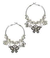 BUTTERFLY CHARM DANGLE HOOP EARRING