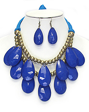 DOUBLE LAYER CHUNKY TEARDROP SUEDE TIE BACK NECKLACE SET