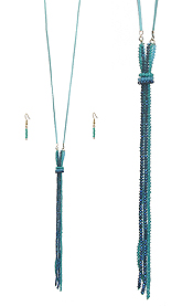 MULTI GLASS BEAD TASSEL AND LONG LEATHER CHAIN NECKLACE SET