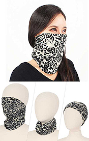 DOUBLE LAYER LEOPARD MULTI USE FACE COVER - 100% POLYESTER