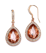 FACET GLASS AND CRYSTAL DECO TEARDROP EARRING