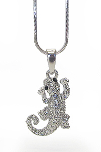 WHITEGOLD PLATING CRYSTAL LIZARD PENDANT NECKLACE