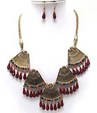 CRYSTAL METAL TEXTURED  TRIANGLE DROP DANGLE ACRYL TEAR DROP NECKLACE EARRING SET