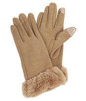 FAUX FUR WRIST GLOVES - 100% POLYESTER