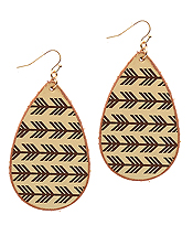 STAMPED LEATHER TEARDROP EARRING - AZTEC