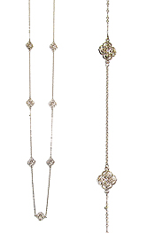 METAL FILIGREE FLEUR DE LIS STATION LONG NECKLACE