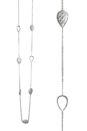 METAL FILIGREE TEARDROP STATION LONG NECKLACE
