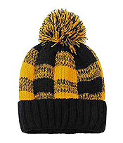 BUFFALO PLAID CHECK POMPOM BEANIE HAT - 100% ACRYLIC