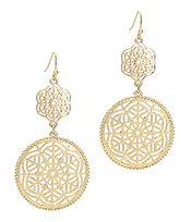 METAL FILIGREE DISC DROP EARRING
