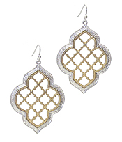 METAL FILIGREE TWO TONE EARRING