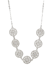 METAL FILIGREE DISC LINK NECKLACE