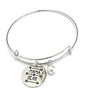 INSPIRATION MESSAGE STAMP DISC CHARM WIRE BANGLE BRACELET - MAMA BEAR