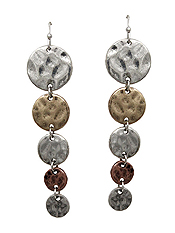 MULTI METAL DISC LINK DROP EARRING
