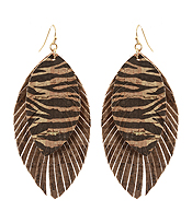 DOUBLE LAYER FAUX LEATHER FRINGE EARRING