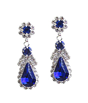 TEARDROP CRYSTAL AND RHINESTONE MIX EARRING