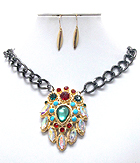 MULTI CRYSTAL AND METAL FILIGREE PENDANT CHAIN NECKLACE EARRING SET