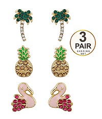 TROPICAL BIRD THEME 3 PAIR EARRING SET