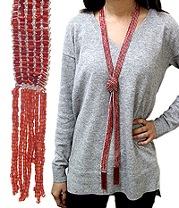 MULTI SEED BEAD LONG TIE NECKLACE - FREE STYLE