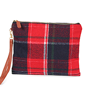 PLAID CLUTCH - 100% POLYESTER