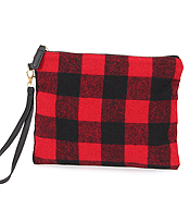 BUFFALO PLAID CLUTCH - 100% POLYESTER