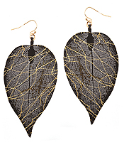 THIN METAL FILIGREE LEAF EARRING