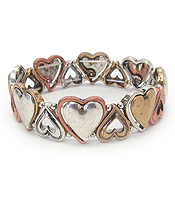 VINTAGE METAL STRETCH BRACELET - HEART