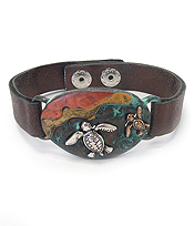 VINTAGE RUSTIC METAL LEATHER BAND BRACELET - SEALIFE - TURTLE