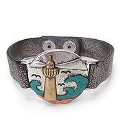 VINTAGE RUSTIC METAL LEATHER BAND BRACELET - SEALIFE - LIGHT HOUSE